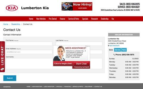Screenshot of Contact Page kiaoflumberton.com - Contact Us | Lumberton Kia in Lumberton NC - captured Feb. 1, 2016