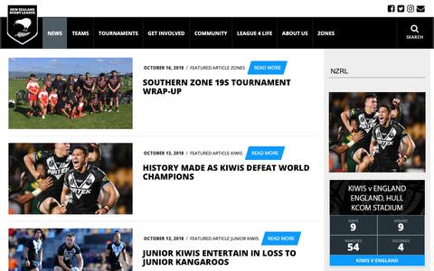 Screenshot of Press Page nzrl.co.nz - Latest News | NZRL - captured Oct. 18, 2018