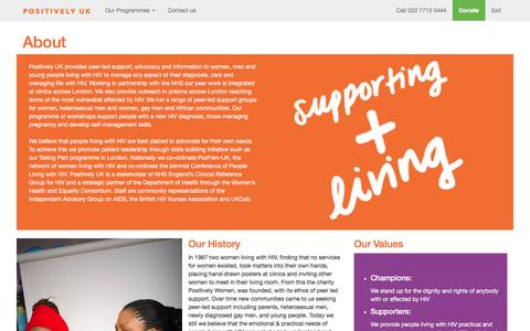 Screenshot of About Page positivelyuk.org - Positively UK - We can help. We are positive | Providing peer support to people living with HIV for over 25 years. - captured Dec. 10, 2015