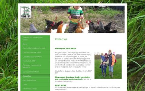 Screenshot of Contact Page weekefarmdevon.co.uk - Sarah and Anthony Barker 01363 82795 info@weekefarmdevon.co.uk - captured Feb. 14, 2016