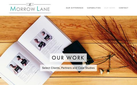 Screenshot of Case Studies Page morrowlane.com - Our Work — Morrow Lane - captured Oct. 23, 2018