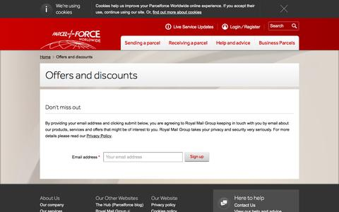 Screenshot of Signup Page parcelforce.com - Offers and discounts | Parcelforce Worldwide - captured May 27, 2018