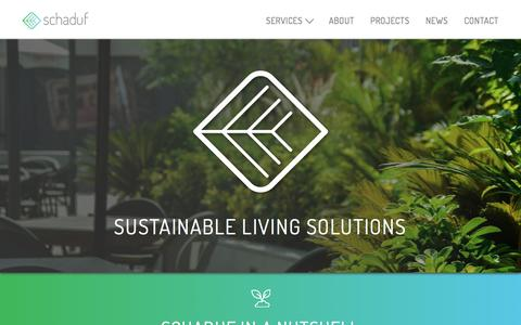 Screenshot of Home Page schaduf.com - Green Walls, Roof Gardens & Urban Eco- Products | Schaduf - captured July 22, 2016