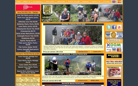 Screenshot of Home Page inkatreks.com - PERU TRAVEL, travel peru - captured Sept. 30, 2014