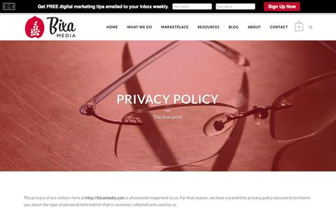 Screenshot of Privacy Page bixamedia.com - Privacy Policy | Bixa Media - captured Oct. 27, 2014