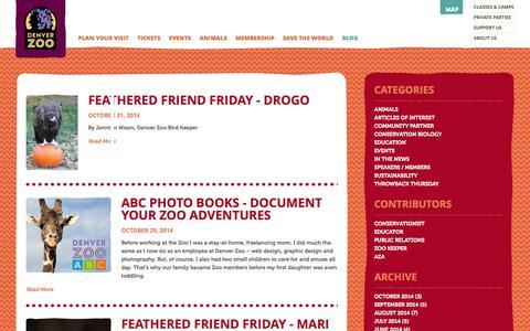 Screenshot of Blog denverzoo.org - Blog | Denver Zoo - captured Nov. 2, 2014