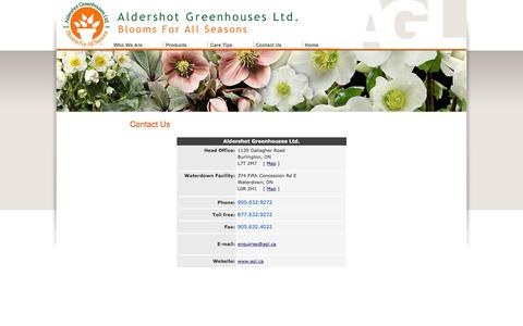 Screenshot of Contact Page aldershotgreenhouses.com - Aldershot Greenhouses Ltd - Contact Us - captured Feb. 5, 2016