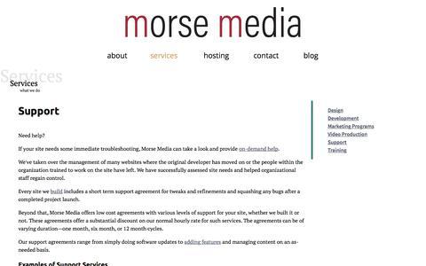 Screenshot of Support Page morsemedia.net - Support | Morse Media - captured June 19, 2017