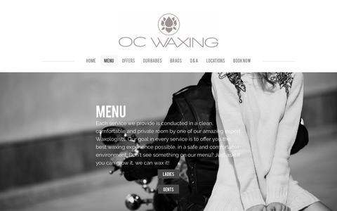 Screenshot of Menu Page ocwax.com - Waxing Menu - OC Waxing - captured Feb. 13, 2016