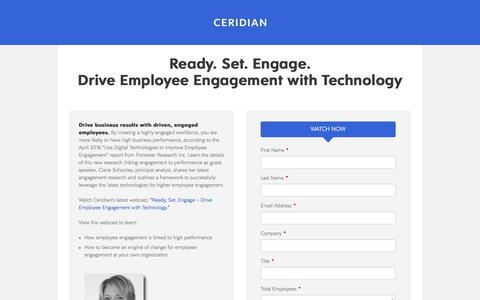 Screenshot of Landing Page ceridian.com captured April 8, 2018