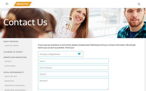 Screenshot of Contact Page mediatek.com - MediaTek Contact Us | MediaTek - captured Sept. 2, 2017