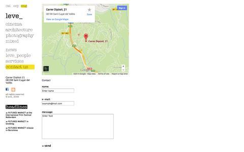 Screenshot of Contact Page levenet.com - leve_ > contact - captured Oct. 2, 2014