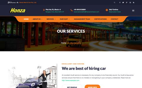 Screenshot of Services Page honzarentacar.com - Honza Rent Car Hire Pvt. Ltd. - captured Sept. 29, 2018