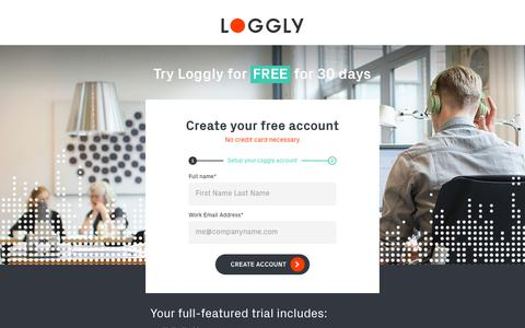 Screenshot of Signup Page Trial Page loggly.com - Signup v3 | Log Analysis | Log Monitoring by Loggly - captured March 23, 2018