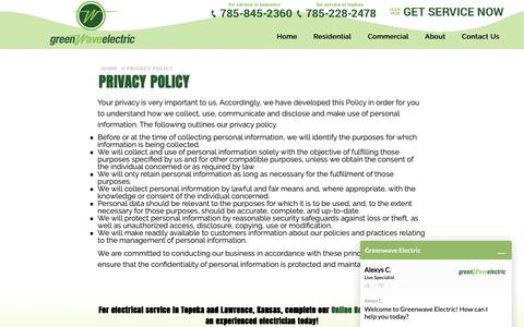 Screenshot of Privacy Page greenwaveelectric.com - Privacy Policy | Topeka and Lawrence, KS | Greenwave Electric - captured Sept. 30, 2018
