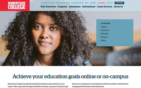 Screenshot of Locations Page robertsoncollege.com - Locations in Winnipeg, Calgary, Edmonton, Brandon, and Online - captured Sept. 24, 2018