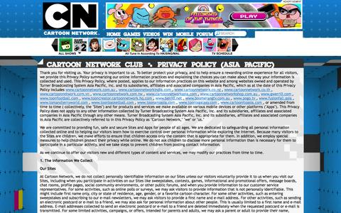 Screenshot of Privacy Page cartoonnetworkasia.com - Cartoon Network South East Asia | Free Games and Online Video from Ben 10, Gumball and Adventure Time! - captured Oct. 27, 2014