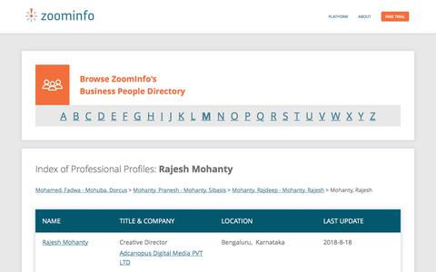 Screenshot of Team Page zoominfo.com - Rajesh Mohanty: Business Profiles | ZoomInfo.com - captured Sept. 20, 2018