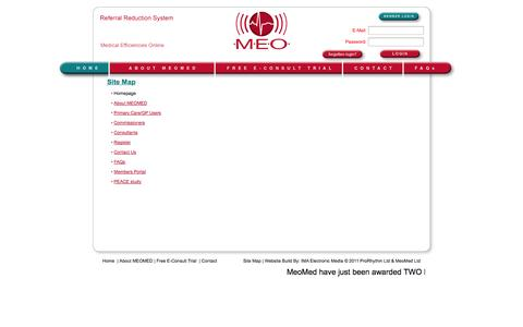 Screenshot of Site Map Page meomed.co.uk - Professional ECG Reporting Tool for Medical Professionals - captured Oct. 3, 2014