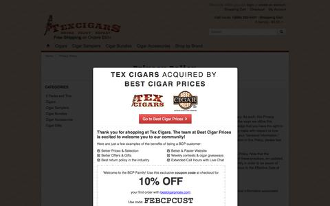 Screenshot of Privacy Page texcigars.com - Privacy Policy | Tex Cigars - Free Shipping - captured Feb. 16, 2016