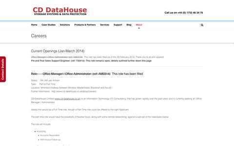 Screenshot of Jobs Page cd-datahouse.co.uk - Careers   CD-DataHouse - Storage Systems and Data Protection - captured Sept. 26, 2014