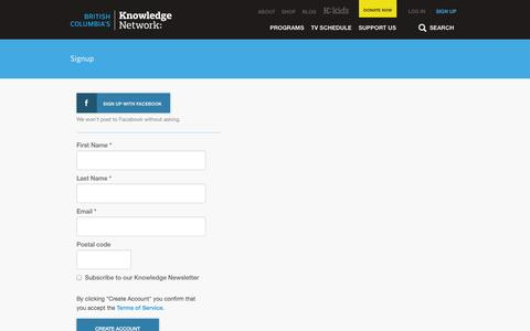 Screenshot of Signup Page knowledge.ca - Signup | Knowledge.ca - captured Oct. 6, 2014