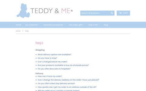 Screenshot of FAQ Page teddyandme.co.uk - faq's - captured May 29, 2019