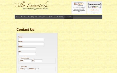 Screenshot of Contact Page villaencantada.com - Contact Us | Puerto Vallarta Villa for Rent - Villa Encantada - captured March 14, 2016