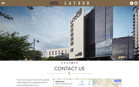 Screenshot of Contact Page hotel-latour.co.uk - Contact Us   Hotel La Tour - captured July 17, 2016