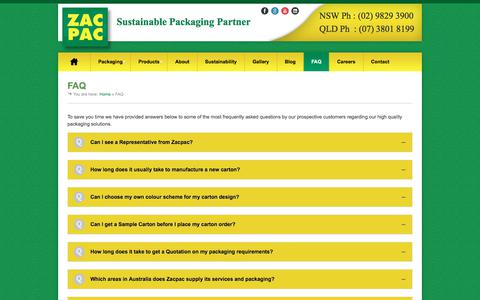 Screenshot of FAQ Page zacpac.com.au - Product Packaging FAQs | Zacpac - captured Oct. 26, 2017