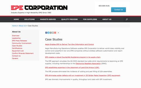 Screenshot of Case Studies Page epecorp.com - Resource Center – EPE Corporation - captured Sept. 25, 2018