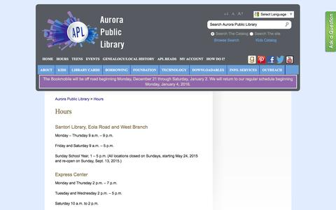 Screenshot of Hours Page aurorapubliclibrary.org - Aurora Public Library » Hours - captured Dec. 27, 2015