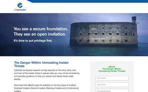Screenshot of Landing Page cyberark.com - LP - captured March 22, 2018