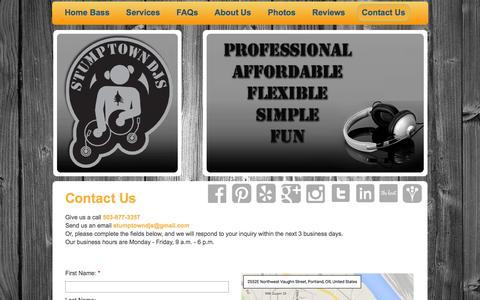 Screenshot of Contact Page stumptowndjs.com - Stumptown DJs - Contact Us - captured Feb. 26, 2016