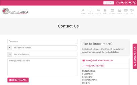 Screenshot of Contact Page spabusinessschool.com - Contact Us - captured Sept. 21, 2018