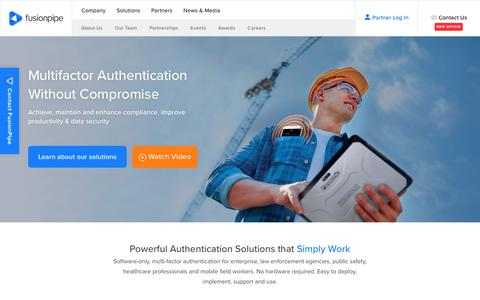 Screenshot of Home Page fusionpipe.com - 2-factor authentication solutions specialists for CJIS compliance: FusionPipe - captured Oct. 14, 2017