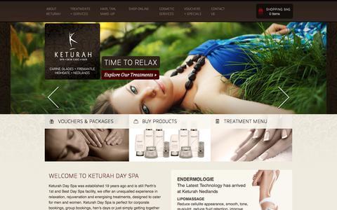 Screenshot of Home Page keturah.com.au - Perth Day Spa – Keturah - captured Oct. 6, 2014