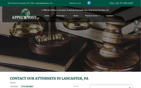 Screenshot of Contact Page appelyost.com - Attorney Contact – Lancaster, PA – Appel & Yost LLP - captured Oct. 3, 2018