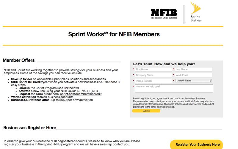 NFIB Members save with Sprint