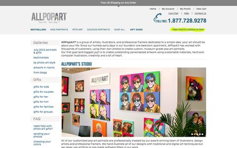 Screenshot of About Page allpopart.com - AllPopArt in the media, our design studio & the artists - captured Sept. 19, 2014