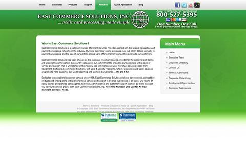 Screenshot of About Page eastcommercesolutions.com - About Us | Merchant Services from East Commerce Solutions - captured Oct. 1, 2014