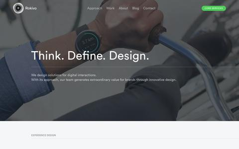Screenshot of Home Page rokivo.com - Rokivo   Think. Define. Design. - captured Jan. 12, 2016