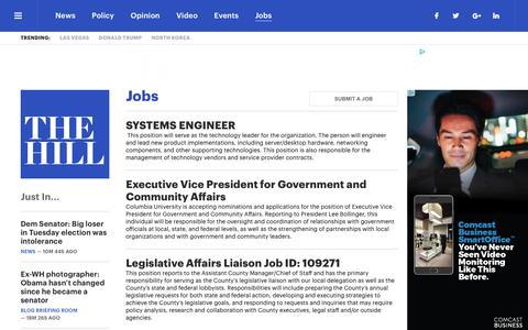 Screenshot of Jobs Page thehill.com - Jobs   TheHill - captured Nov. 9, 2017