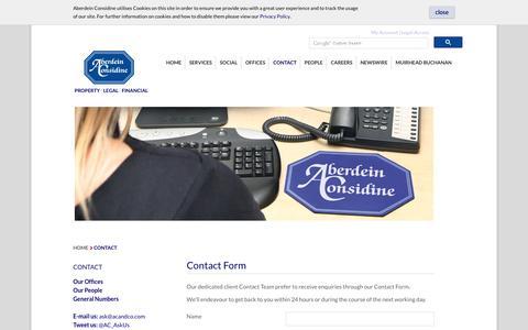 Screenshot of Contact Page acandco.com - Contact | Aberdein Considine - captured Nov. 20, 2016