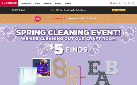Screenshot of Home Page acmoore.com - Arts and Crafts Store - captured March 16, 2019