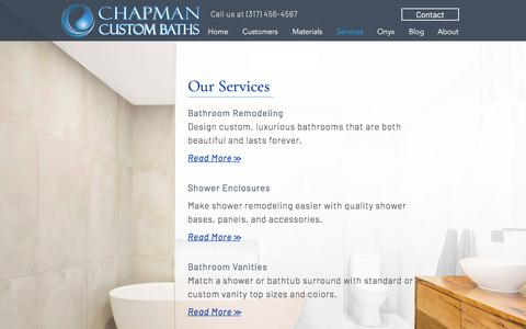 Screenshot of Services Page chapmancustombaths.com - Our Services | Chapman Custom Baths of Indy: Luxury Solid Surface - captured July 17, 2018