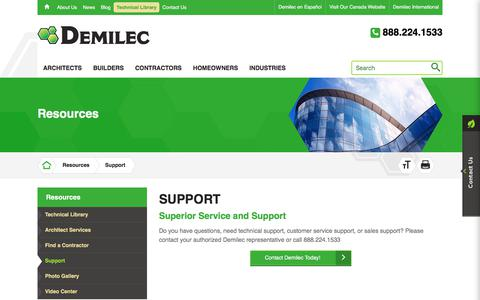 Screenshot of Support Page demilec.com - Demilec Inc. | Get Support from Our Team - captured Aug. 6, 2018