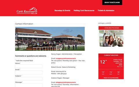 Screenshot of Contact Page corkracecourse.ie - Contact Us - Cork Racecourse Mallow - captured Sept. 29, 2018