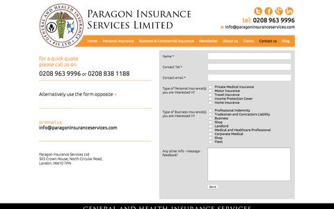 Screenshot of Contact Page paragoninsuranceservices.com - Contact Us - Paragon Insurance Services - captured July 11, 2016