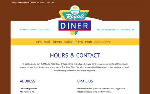 Screenshot of Hours Page chelsearoyaldiner.com - West Brattleboro, Vermont Restaurant | Hours & Contact | Chelsea Royal Diner - captured July 2, 2018